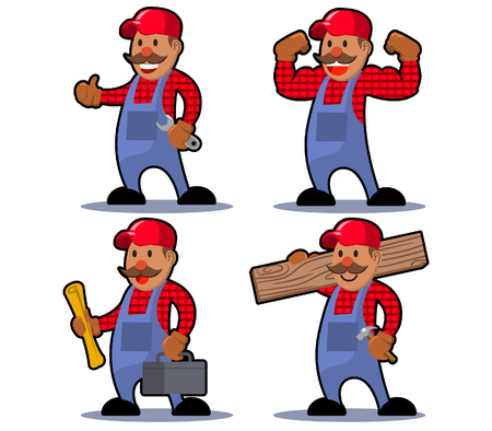 Vector illustration character of worker man mustache 向量圖像
