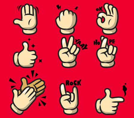 Illustration of comic cartoon hand gesture. Stock Vector - 89825885