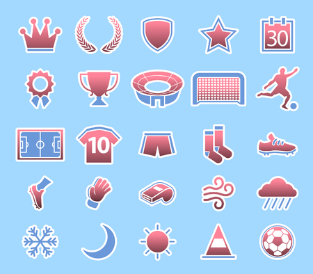 Vector collection of soccer match conditions icon