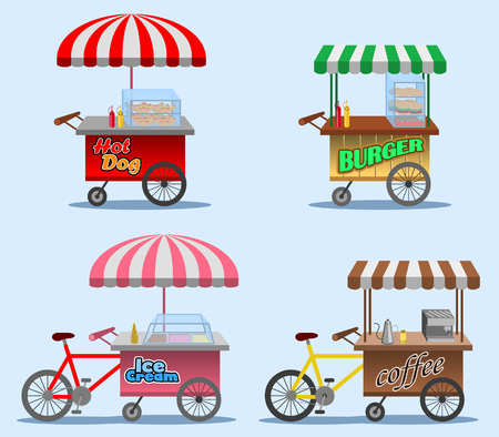 Vector illustration collection of street food stall