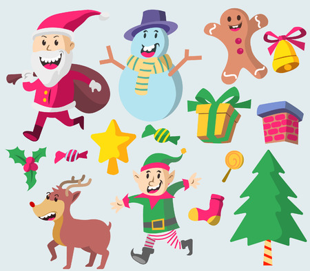 Vector fancy illustration collection set of Christmas character Illustration