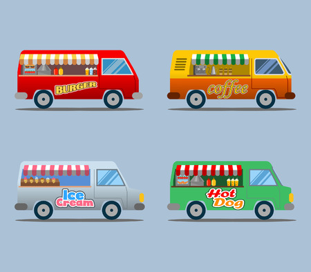 Vector illustration collection of food truck Stock Vector - 90582892