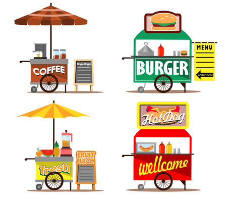 Vector illustration collection set of food street vendors