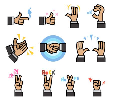 Vector illustration of flat cartoon hand gesture