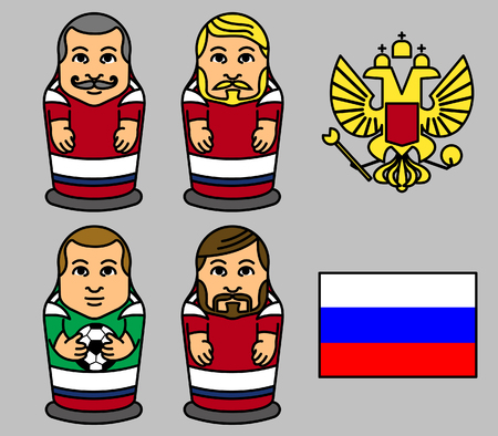 Matryoshka doll character of Russian soccer player vector illustration. Çizim
