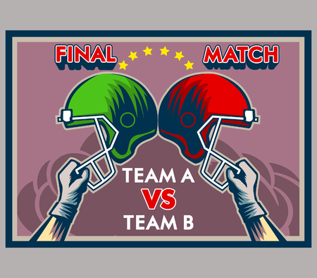 Vector illustration design vintage  of American football match poster
