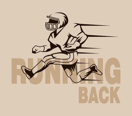 Vector vintage illustration of runningback. Suitable for sport logo