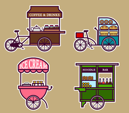 Illustration of street food cart sticker icon collection.