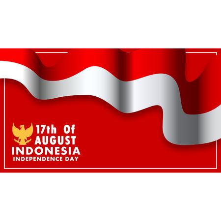 Diseño de fondo de vector del día de la independencia de Indonesia. Usando un tamaño de relación de aspecto de 16: 9.