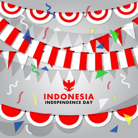 Vector  background of decorative Indonesia flag