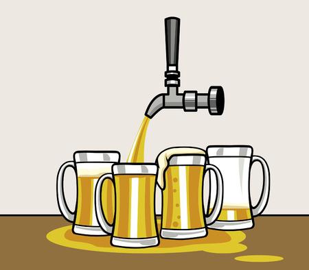 Bier auf eine Gruppe von Krug gießen Vektorgrafik