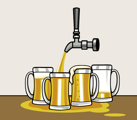 Pouring beer on a group of mug 矢量图像