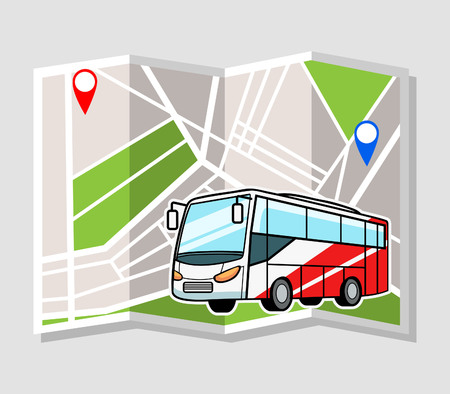 Illustration vectorielle de bus avec plan de la ville en arrière-plan