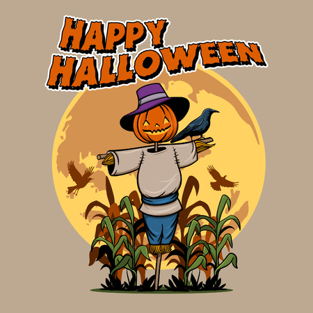 Vector illustration of spooky scarecrow  for Halloween party.
