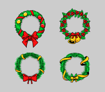 Comical vector illustration of Christmas wreath  イラスト・ベクター素材