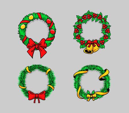 Comical vector illustration of Christmas wreath Ilustração