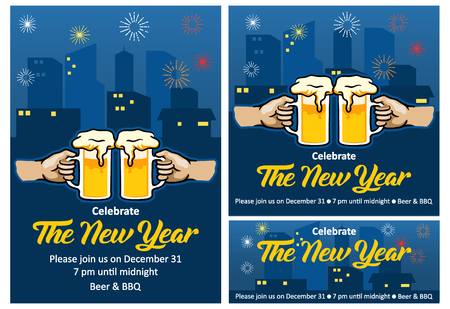 Vector invitation design of New year beer party.