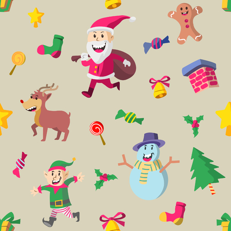 Vector seamless pattern of cute Christmas character