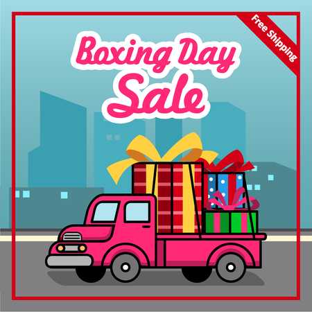 Vector banner for boxing day promotion free shipping offer.