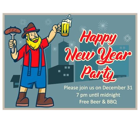 Invitation poster in retro style for celebrate New Year in beer and BBQ party.