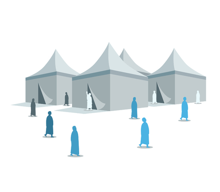 Hajj pilgrimage silhouette on Mina tents area. One of Islams sacred pilgrimage route. Suitable for info graphic.