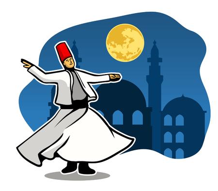 Darvish do spiritual dancing in the moonlight. Vetores
