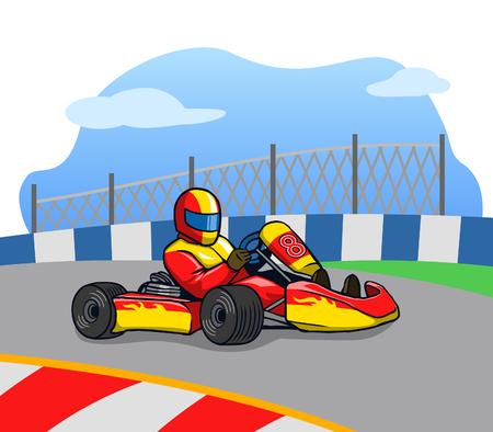 Gokart racer running so fast on the track.
