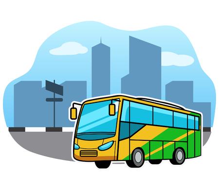 Vector illustration of busin front of city facade. Ilustração