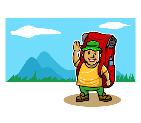 Vector illustration of mountaineer in front of mountain panoramic view Ilustração