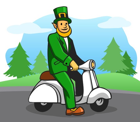 Leprechaun riding white scooter at outdoor. Vector illustration for Saint Patricks Day theme