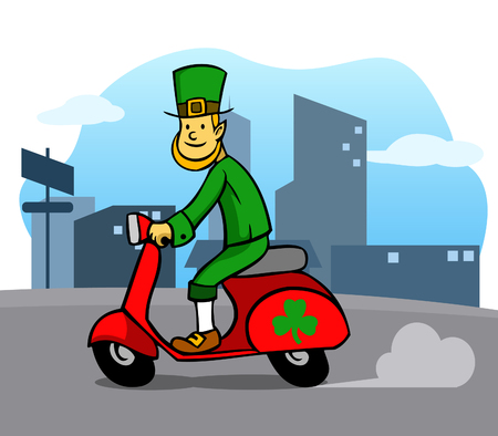 Leprechaun riding white scooter in front of city facade. Vector illustration for Saint Patricks Day theme