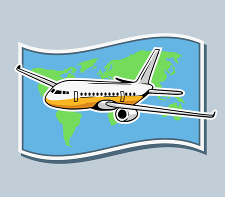 Vector illustration of airplane flying across world map.
