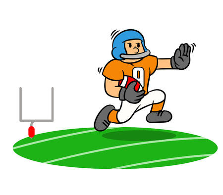 Vector cartoon of American Football player running on the field