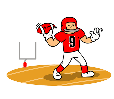 Vector cartoon of American Football player steady throw ball on the field