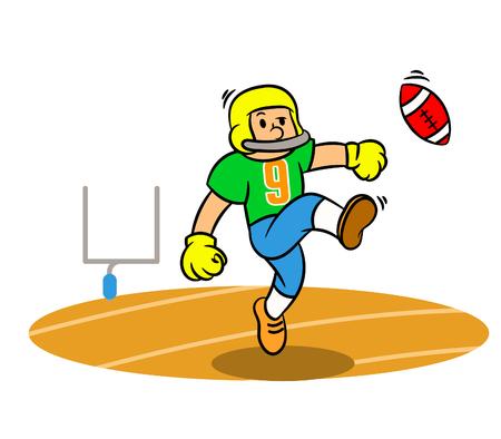 Vector cartoon of American Football player kicking ball on the field.