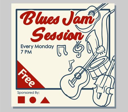 Poster design for blues jam session event.