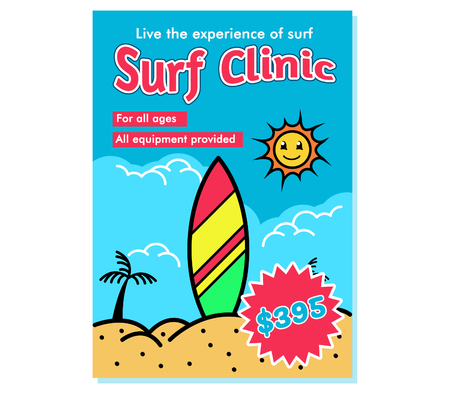 Poster design for surf school invitation.