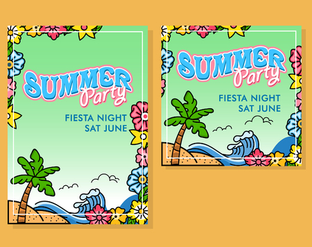 Poster design for summer party. Available in A4 paper size and square shape.