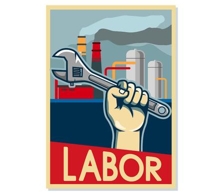Cartel de arte pop de mano de obra de fábrica. Usando tamaño de papel A4