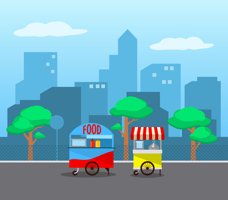 Street food stall in the city. Illustration