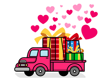 Delivering lovely gift box for Valentine day. Иллюстрация