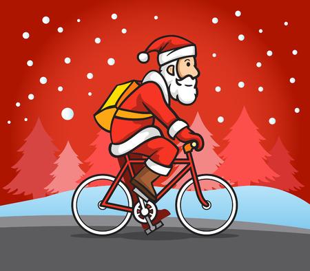 Santa Claus riding road bike in snow rain.