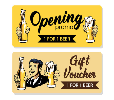Vector retro design of beer voucher.