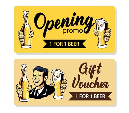 Vector retro design of beer voucher.