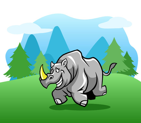 Happy rhinoceros running in the outdoor.