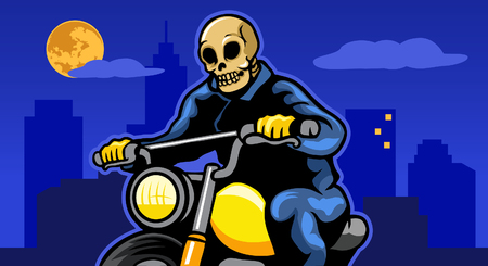 Skull biker riding motorcycle at city night. Иллюстрация