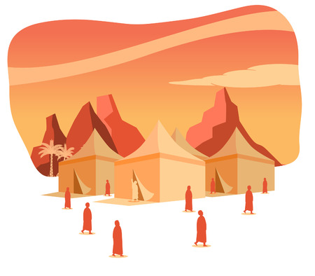 Hajj pilgrimage silhouette on Mina tents area at dawn. One of Islams sacred pilgrimage route. Suitable for info graphic.