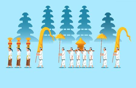 Hindu religious rite parade in Bali, Indonesia.