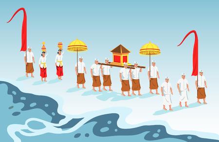 Gli indù dell'isola indonesiana di Bali camminano verso la spiaggia per celebrare la cerimonia di purificazione di Melasti.