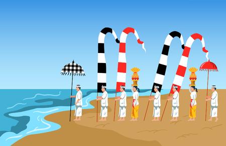 Hindus on Indonesia's island of Bali pray facing the ocean to perform purification ceremony. Ilustración de vector
